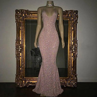 Wholesale Cheap Halter Neck Dresses - 2018 Sparkly Sequined Mermaid Prom Dresses Sexy Halter V Neck Sleeveless Floor Length Cheap Long Prom Gowns Special Party Wear BA5415