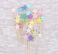 faveurs de mariage étoiles achat en gros de-Cupcake Toppers Golden Mix Couleur Star Papier Gâteau Toppers Enfants Favors Décorations Pour Mariage Baby Shower