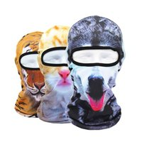 Wholesale Skull Dust Caps - 3D Animal Print Dust Masks Sun Protection Cap CS hat Motorcycle Active Outdoor Masks Skull Hood Hat UV Protect Full Face Mask