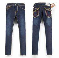 gerade schlauch großhandel-Herren-Jeans mit geradem Schnitt Langen Hose Hosen der Männer Wahren Coarse Linie Religion Jeans Kleidung Mann beiläufigen Bleistift-Hosen-Blau Schwarz-Denim-Hosen