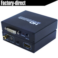 Wholesale Audio Out Splitter - HDMI to DVI audio&video converter splitter HDMI in DVI out with power adapter