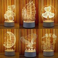 berührungsrad großhandel-3D Kleine Schreibtischlampe Geschenk Lampe USB Touch Fernbedienung Originalität Gemütliche Nachttischlampe Neues Muster Riesenrad Kleines Nachtlicht