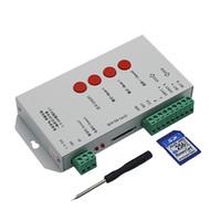 tira de led dmx512 al por mayor-Led Strip RGB Controller T-1000S con tarjeta de 256M SD 2048 píxeles para WS2801 WS2811 WS2812B LPD6803 DMX512 Led Strip DC5-24V