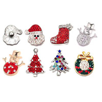 Wholesale diy snap buttons resale online - Interchangeable Christmas metal Rhinestone Snap Buttons W085 Alloy Diy Jewelry fit mm Snap button Bracelets for Women Gift