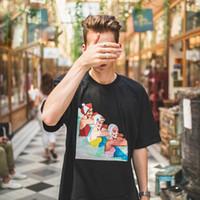 camiseta de natação venda por atacado-18SS SP Natação Menina Tee Rua Retro Impressão Confortável Solto Algodão Homens E Mulheres Casais Multicolor-de Mangas Curtas T-shirt HFSSTX041