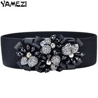 cinturón elástico negro del rhinestone al por mayor-YAMEZI Moda flores hechas a mano cinturón de mujer cintura elástica ancho cummerbund mujer cinturón de diamantes de imitación con correa de cristal negro