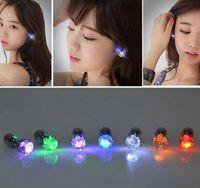 Wholesale Mounted Stud Earrings - LED Flash Earrings Flash Lighting Up Bling Ear Studs Earrings Club Party Cool Earring Gift 500pcs