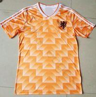Wholesale european shirts - 1988 European Cup Classic Vintage Netherlands Home Soccer Jersey 12 VAN BASTEN 10 Gullit 8 Bergkamp Seedorf Holland Football Shirt