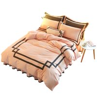 Wholesale King Style Briefs - Pink water washed cotton bedding set brief strips solid color twin queen king duvet cover bed skirt pillowcases bed linens 6141