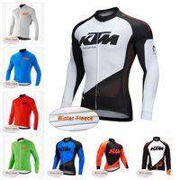 одежда из флисовой зимы оптовых-Оптовая KTM команда Велоспорт Зима Тепловая Руно Джерси Мужчины Ветрозащитный MTB Велосипед Цикл Ветер Пальто Одежда D2533