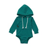 Wholesale cool baby clothes online - Newborn Infant Baby Boy Girl Hooded Bodysuit Jumpsuit Tops Outfits Clothes Long Sleeve Solid Pocket Boys Girls Bodysuits Cool