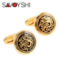 Wholesale vintage cufflinks gold resale online - SAVOYSHI Brand Fashion Vintage Dragon Pattern Bottons for Mens With Box Accessories French Round Gold color Cufflinks Wedding Gift Jewelry