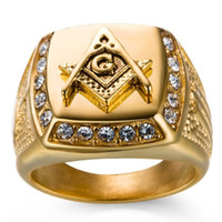 jóias de moda maçônica venda por atacado-NOVA 24 k banhado a ouro clássico dos homens do punk estilo maçônica maçônica anel de sinete hip hop gelado out bling anéis moda jóias por atacado