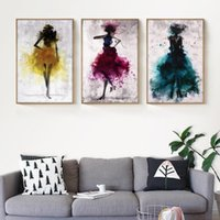 lona da parede da dança venda por atacado-Dança Saia Menina Aquarela Cartaz Da Lona Minimalismo Impressão Pintura Abstrata Moderna Casa Decoração Da Parede Pintura A Tinta Chinesa