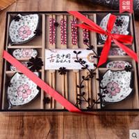 ingrosso set da cucina cinese-Set di piatti in ceramica tradizionale set di piatti da tavola vintage set di piatti di ceramica set di piatti di decorazione