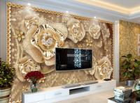 tv arka planı ev toptan satış-Yatak odası duvarlar için özel duvar kağıdı Oturma odası zemin TV arka plan duvar kağıdı Takı çiçekler duvar kağıtları ev dekor 3d