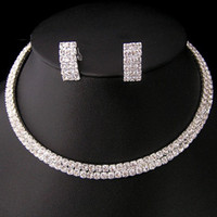 Wholesale Necklace Sparkling Earrings - Sparkling Rhinestones Bridal Jewelry Sets With Necklace And Earrings Cheap Silver Plated Jewelry For Formal Occasion