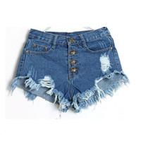 ingrosso jeans neri per le signore-Pantaloncini Donna 2018 Moda Donna Tassel Hole Vita alta Estate Short Jeans Sexy Mini Booty Shorts per Donna Bianco Nero