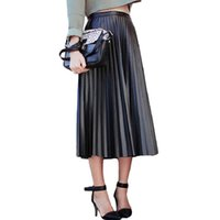 Wholesale black faux leather pleated skirt - 2017 New Spring Autumn Women Skirts Vintage High Waist Black Faux Leather Skirts Female Slim Party Midi PU Pleated Skirt AB057