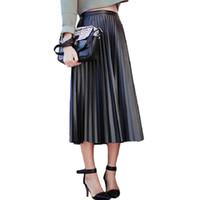 2017 Nueva Primavera Otoño Faldas de Las Mujeres de Cintura Alta Vintage  Faldas de Cuero de Imitación Negro Femenino Delgado Partido Midi PU Falda  Plisada ... 79a8cef019d5