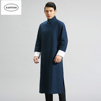 geleneksel çince yaka toptan satış-Çin Geleneksel Elbise Erkekler Mandarin Yaka Uzun Elbiseler Artı Boyutu Geleneksel Çince Giyim Keten Trençkotlar Uzun Adam Robe
