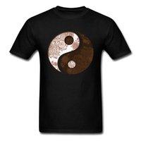 черная хлопковая кунг-фу рубашка оптовых-Удивительный 2018 Ян Инь Мандала черный футболка Ман топ тис с коротким рукавом хлопок футболки буддизм Кунг-Фу символ