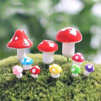 ingrosso figurine in resina in miniatura-Fai da te Mushroom Resin Ornament Shape Terrarium Figurine Originalità Fairy Garden Miniature con molti stili Landscape Artigianato Arti 0 8qj ff