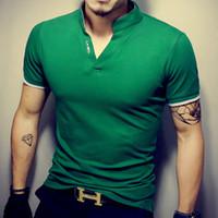 ingrosso shirt in vendita-Maglietta degli uomini di vendita calda Solid V-Neck T-shirt manica corta estiva Maglietta degli uomini di cotone Slim Fit Mens Top Tees camicia 5XL