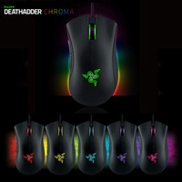 Wholesale Mouse Wires - Razer Deathadder Chroma USB Wired Optical Computer Gaming Mouse 10000dpi Optical Sensor Mouse Razer Deathadder Gaming Mice 1pc lot
