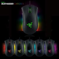 razer mouse toptan satış-Orijinal değil Razer Deathadder Chroma USB Kablolu Optik Bilgisayar Oyun Fare 10000 dpi Optik Sensör Fare Razer Deathadder Oyun Fareler