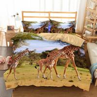 Wholesale animal pattern duvet covers - 3D Animal World Giraffe Pattern Printing Twin Full Queen King Bedding Sets Duvet Cover No Filler