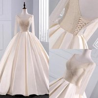 Wholesale sequin beaded satin ball online - Temperament Wedding Dresses Sequins Beaded V Neck Champagne Ball Gowns With Sleeves Mopping Long Section Wedding Gowns