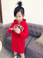 Wholesale baby girl casual clothing online - 2018 Girls hoodie Casual Long style GG Sweatshirt kids clothes Cotton Spring Fall Hoodies Fashion baby pullover Sweater
