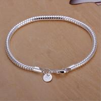 pulseras de bajo precio del encanto al por mayor-Luxuy marca de joyería de plata 925 regalo plateado joyería 3mm 8 pulgadas joyería de moda encanto pulsera de cadena serpiente precio barato más bajo