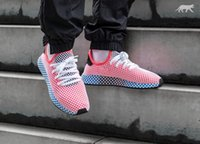 Wholesale network medium - 2018 DEERUPT RUNNER Entire network layer Breathable sneake Casual shoes top quality White Pink Men Women Athletic Sneakers Size 36-44