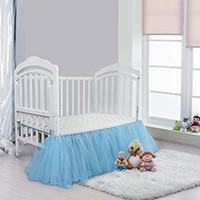 Wholesale pink crib skirts - Ruffled Crib Skirt Pink Blue Neonatal Bedding Baby Bed Skirt baby's room decoration