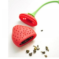 coladores de fresa al por mayor-Forma de fresa infusor de té de silicona colador de té bolsa de relleno de bola bola cazo 150 unids