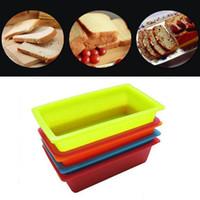 kutu hamur işleri toptan satış-DIY Silikon Tost Kutusu 25 * 13.5 * 6.5 cm Dikdörtgen Kek Kalıp Bakeware Maker Pasta Ekmek Kek Mutfak Pişirme Araçları T1I294