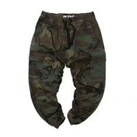 Wholesale flats fur inside - 2018 New kanye west Camouflage inside ELASTIC machete Toe binding Loose Jogging pants hip hop Casual Black army green pants
