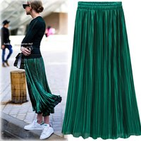 Wholesale Yellow Satin Skirts - Silver Gold Pleated Skirt Womens Vintage High Waist Skirt 2018 Winter Long Warm Skirts New Fashion Metallic Skirt Female