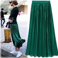 Wholesale Green Skirts - Silver Gold Pleated Skirt Womens Vintage High Waist Skirt 2018 Winter Long Warm Skirts New Fashion Metallic Skirt Female
