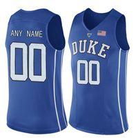 a medida que el jersey al por mayor-Hombres Personalizados Duke Blue Devils College Jersey Hecho a medida cualquier número de nombre cosido Azul Blanco Negro Camisetas de baloncesto Barato