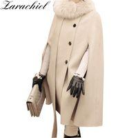 Wholesale double breasted wool cape coat - 2018 Winter Wool Blend Long Sleeve Cape Coat Women Scarf Medium Long Shawl Cloak TCoat Double-Breasted Split Overcoat