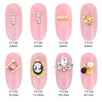 Wholesale nail designs accessories - 50pcs crystals strass gems nail art rhinestones star design gold jewelry for nails decoration wholesaler 3d accessories supplies Y1128