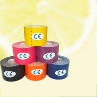 kinesio kaset spor kasları toptan satış-Yapıştırıcı Kas Spor Bant Su Geçirmez Nefes Kinesiyoloji Kinesio Rulo Bandaj Renkli Pamuk Elastik Bantlar Sıcak Satış 6 86md3 B