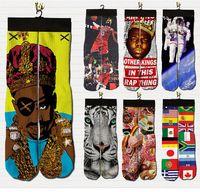 emoji calcetines hombres al por mayor-harajuku hombres / mujeres calcetines personajes 3d imprimir emoji / 2pac // marilyn monroe / Biggie Smalls calcetines graciosos gráficos calcetines