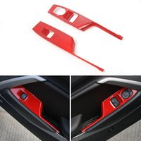 Wholesale car window lift - Car Door Armrest Switch Panel Cover Trim For ABS Window Lift Button Decoration Strip For Chevrolet Camaro