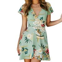d8541072b6 2019 Fashion Women s summer dress Bohemian style ladies Short Sleeve  Adjustable Bandage Floral Swing Beach Dresses vestidos