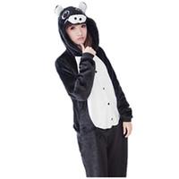 pyjamas jumpsuit achat en gros de-Mignon Noir Cochon Onesie Animal Costume Pyjamas Pyjamas Cosplay Vêtements de Nuit Costume Halloween Noël Fille Lady Femmes Hommes Animal de Bande Dessinée Jumpsuit
