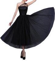 вечерние платья оптовых-Винтаж 1950-х вечерние платья выпускного вечера для женщин длина лодыжки одно плечо вечернее платье чай длина платья особого случая
